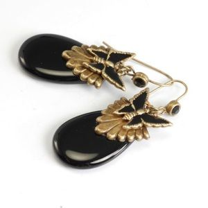 Jewelry - Antiqued Gold w/ Black Stone& Butterfly Earring